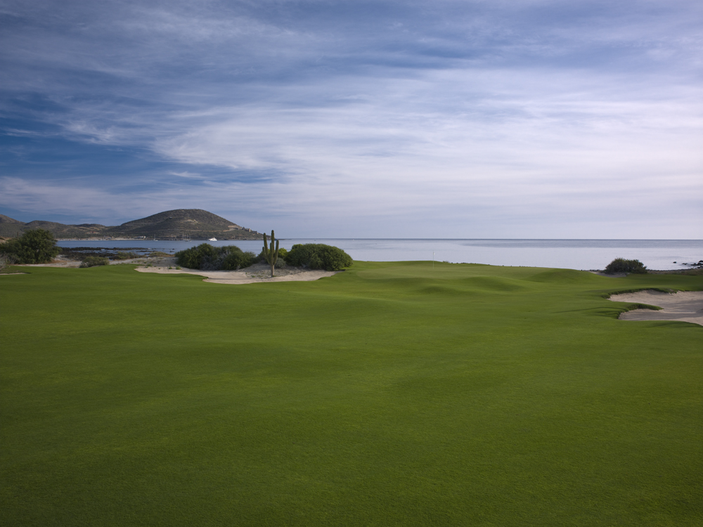 The 14th green, set on the edge of the Sea of Cortez.