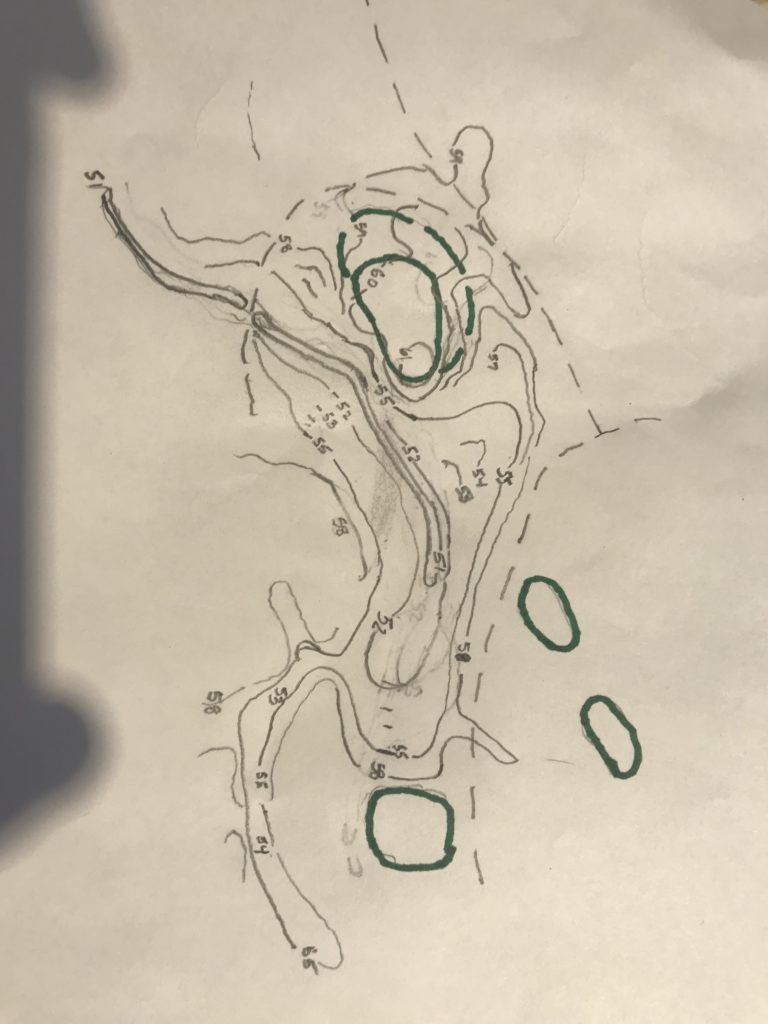 My thumbnail grading plan for the short 15th hole, where we replaced a pond in front of the green with a stream that will run along the left side to swallow any pulled approach.