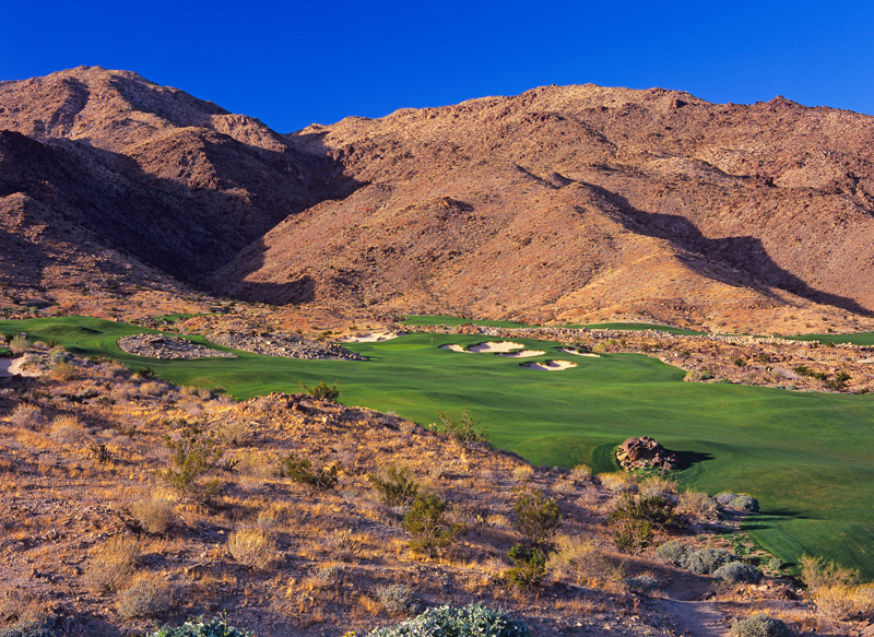 Both the tee shot and the approach at the par-4 2nd will fly against the mountain backdrop.