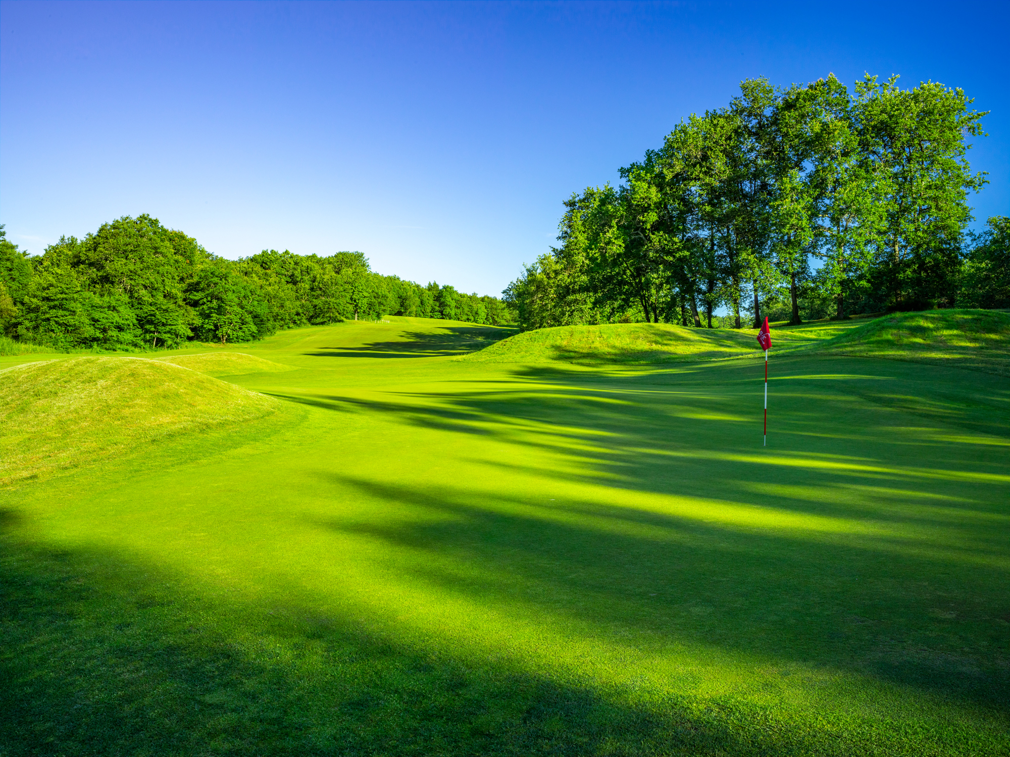 Mounds, rather than bunkers, guard the green site at the long, downhill par-5 15th.